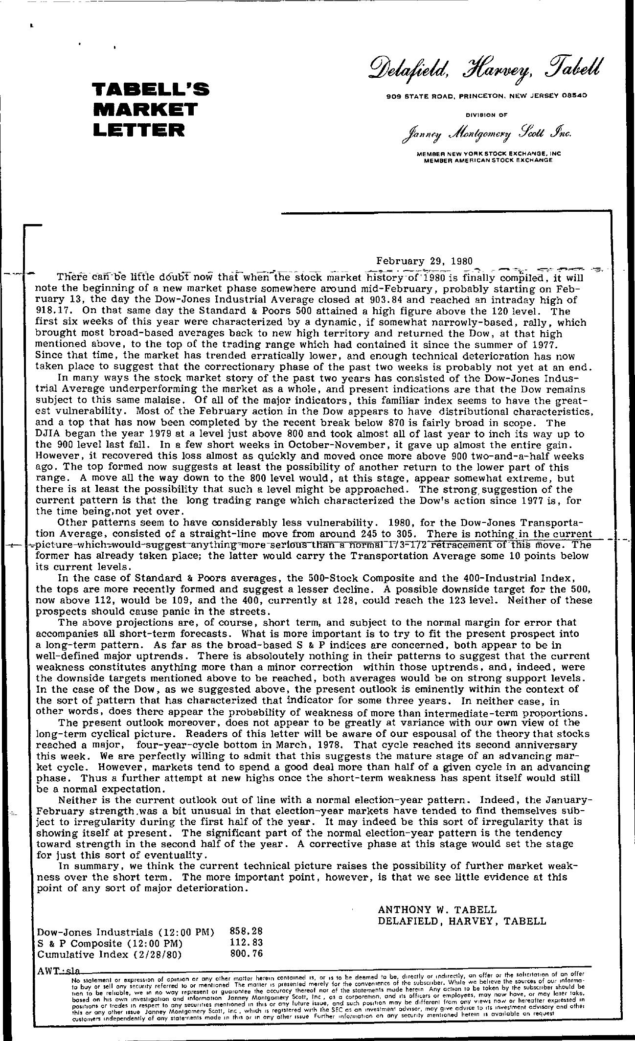 Tabell's Market Letter - February 29, 1980