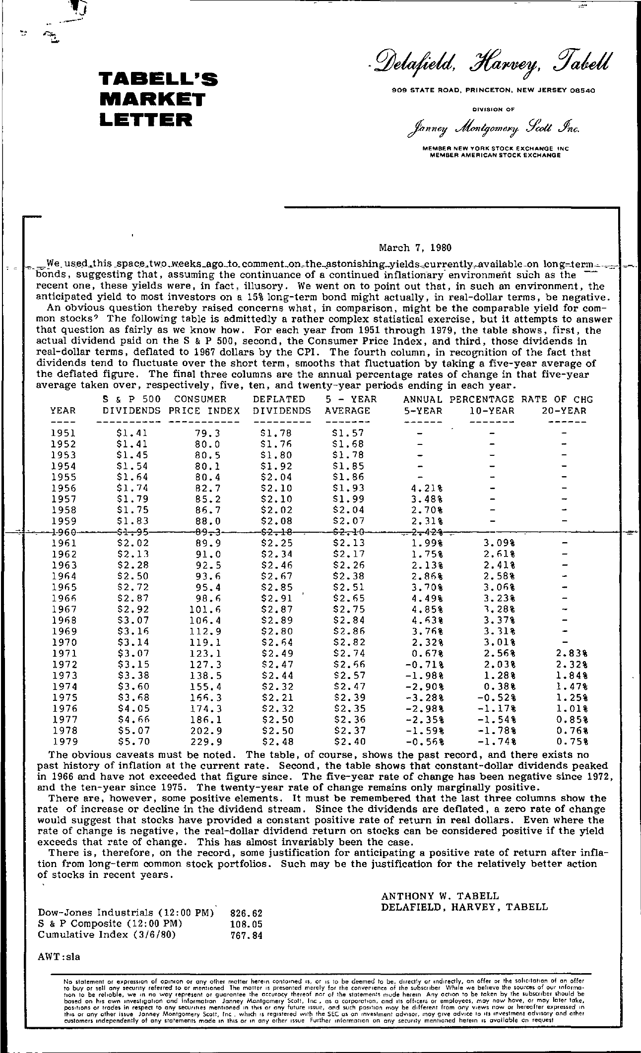 Tabell's Market Letter - March 07, 1980