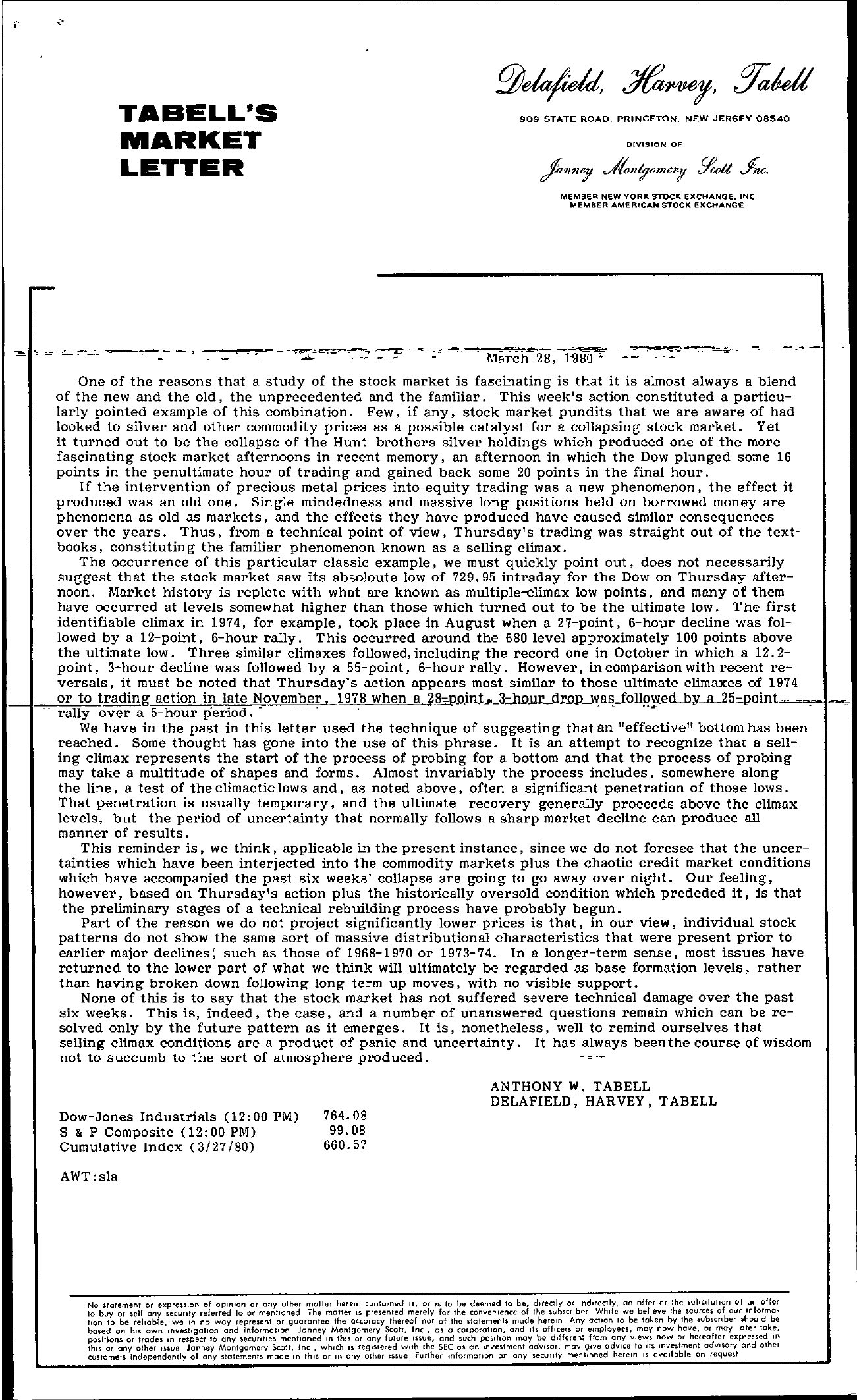 Tabell's Market Letter - March 28, 1980