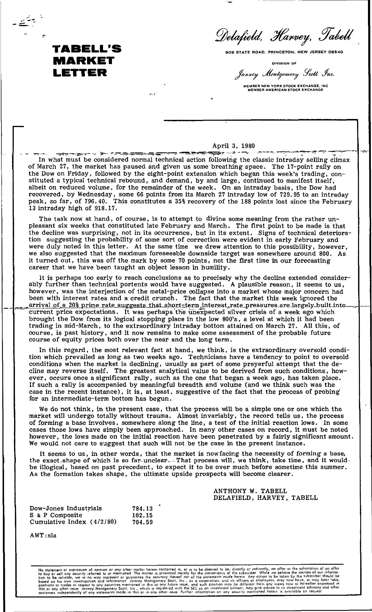 Tabell's Market Letter - April 03, 1980