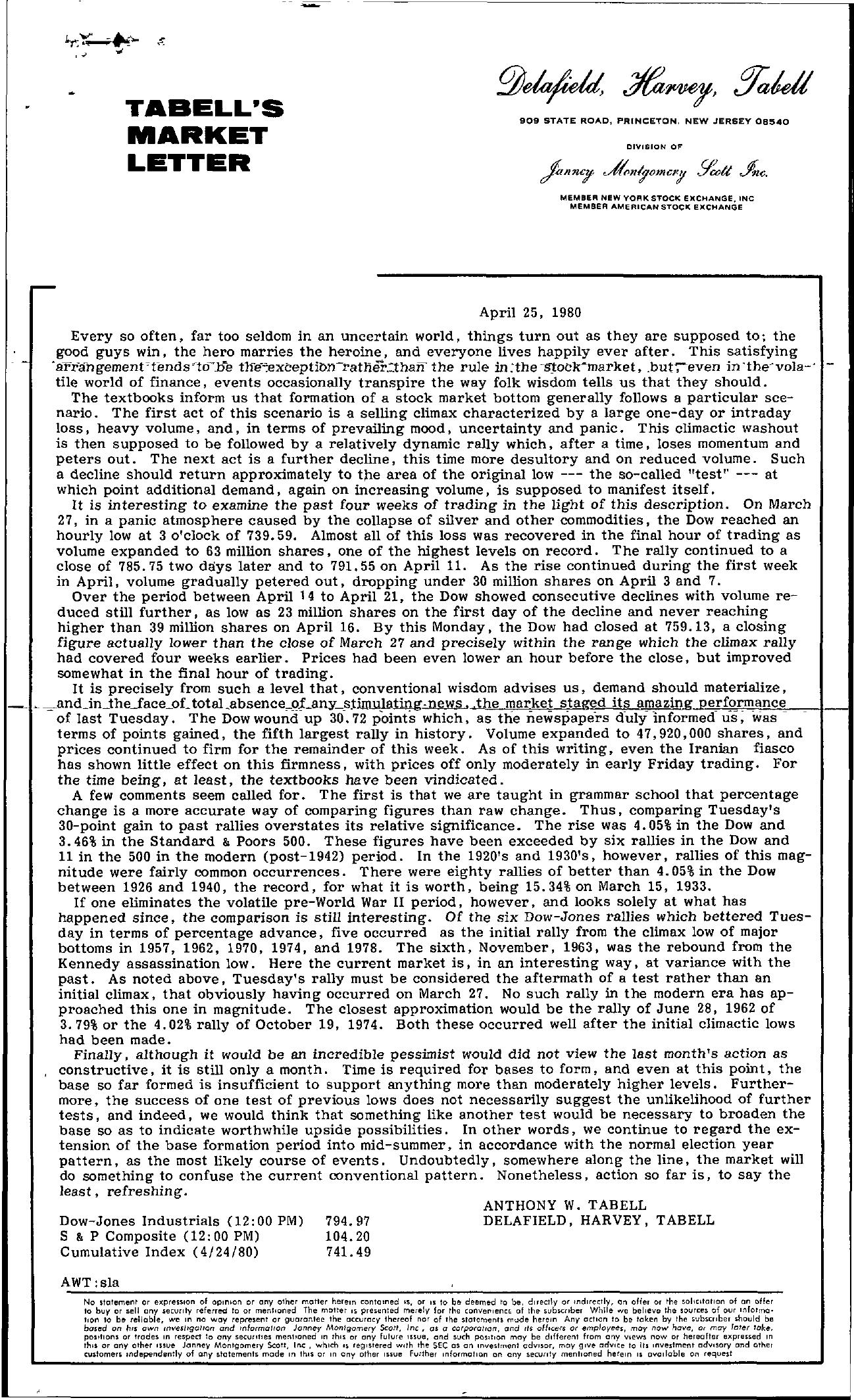 Tabell's Market Letter - April 25, 1980