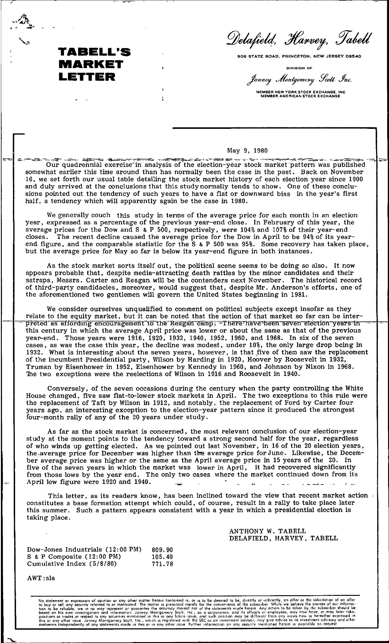Tabell's Market Letter - May 09, 1980