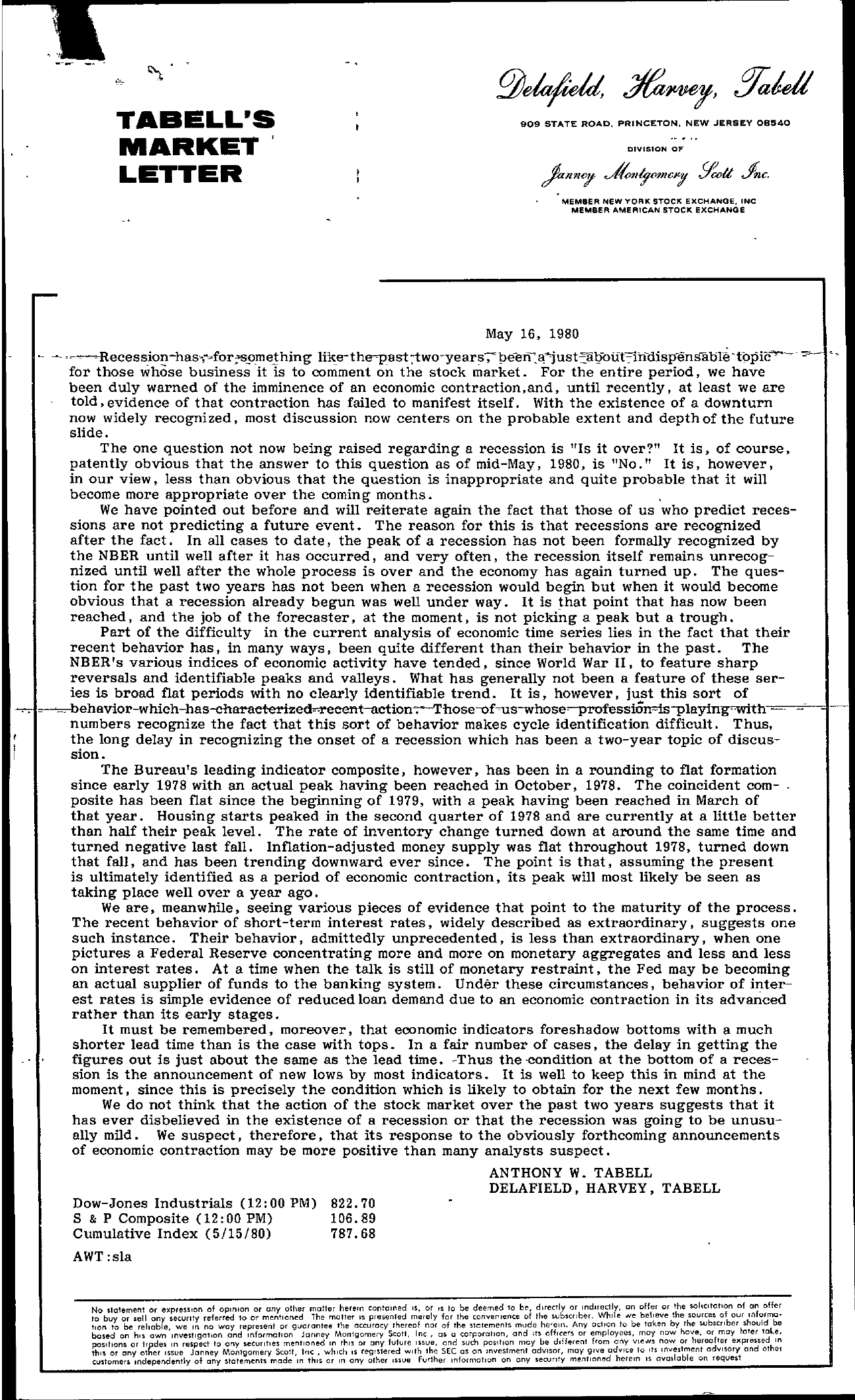 Tabell's Market Letter - May 16, 1980