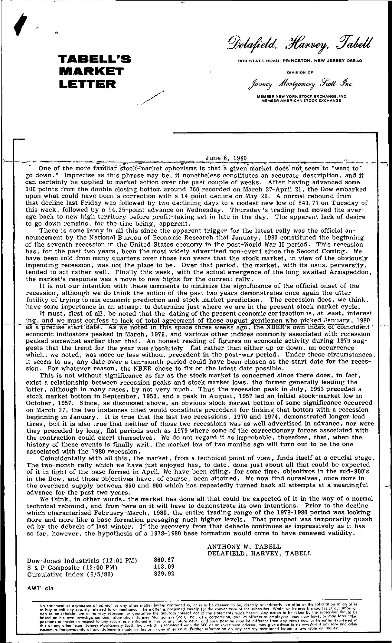 Tabell's Market Letter - June 06, 1980