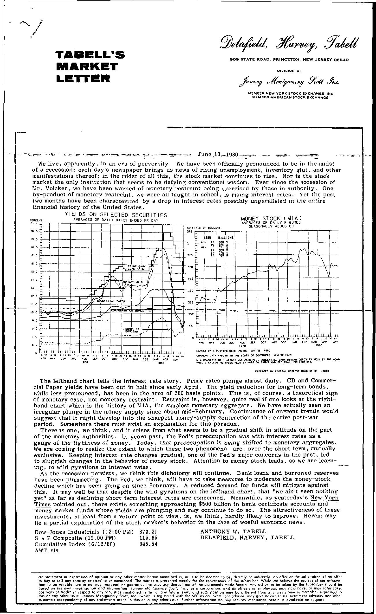 Tabell's Market Letter - June 13, 1980