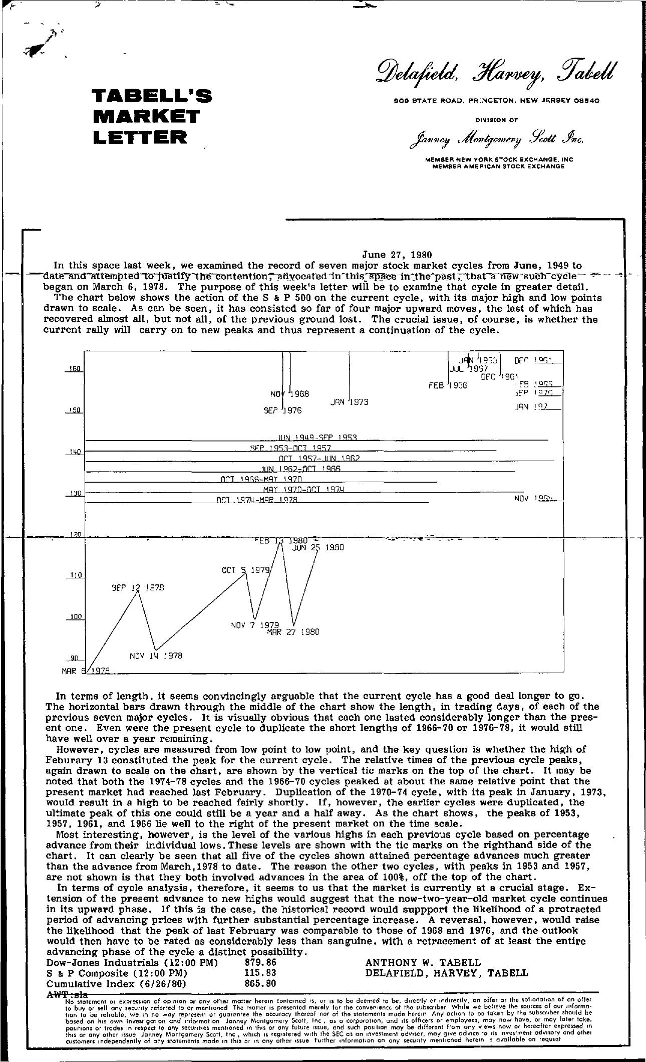 Tabell's Market Letter - June 27, 1980