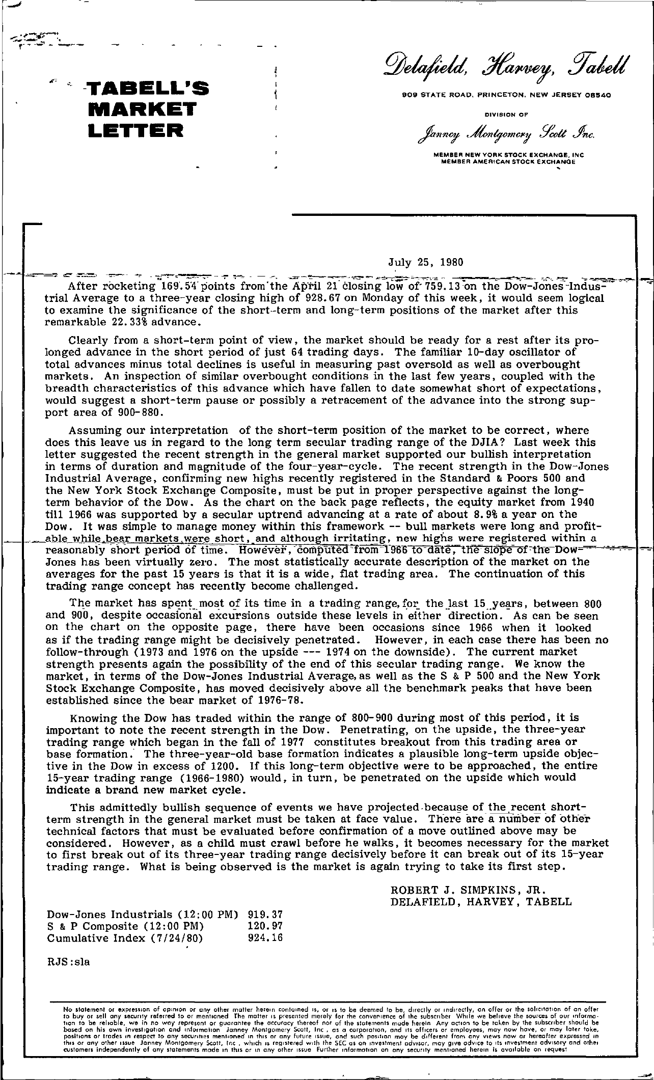Tabell's Market Letter - July 25, 1980 page 1