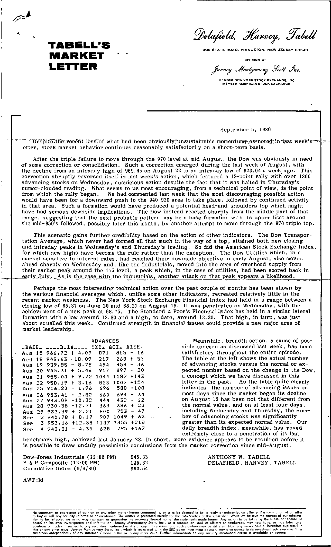 Tabell's Market Letter - September 05, 1980