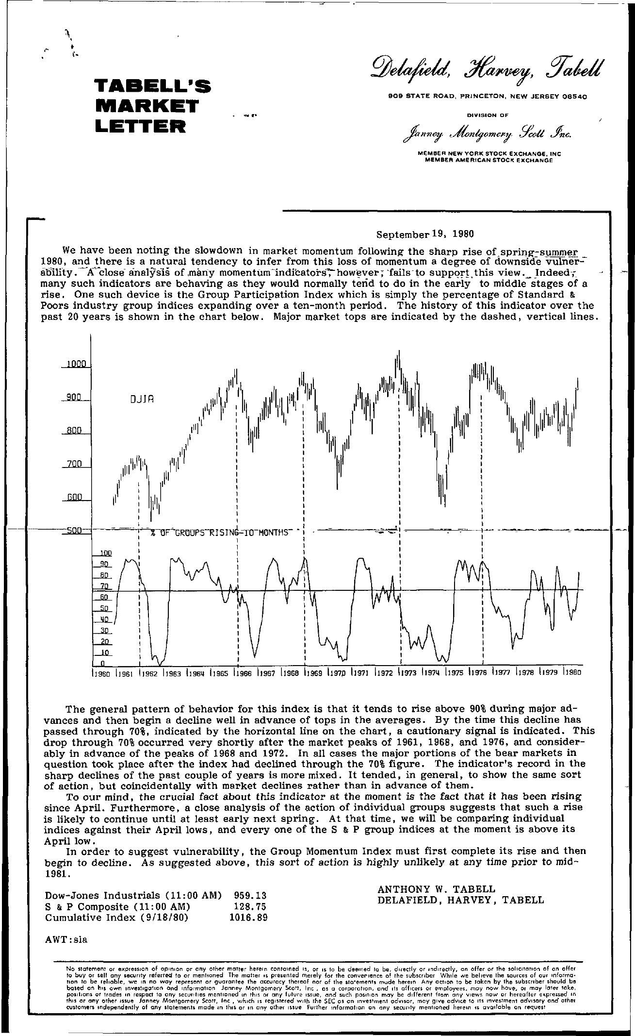 Tabell's Market Letter - September 19, 1980