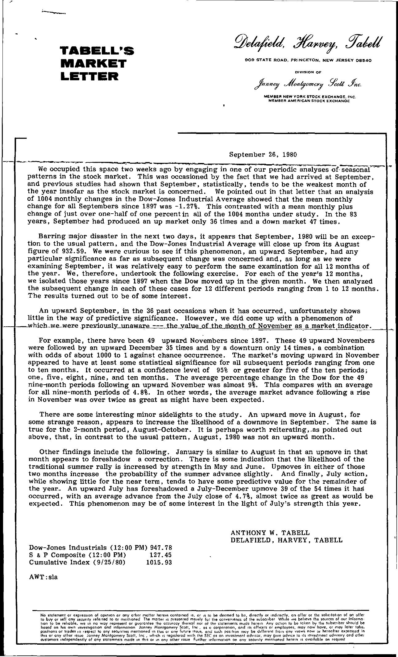 Tabell's Market Letter - September 26, 1980
