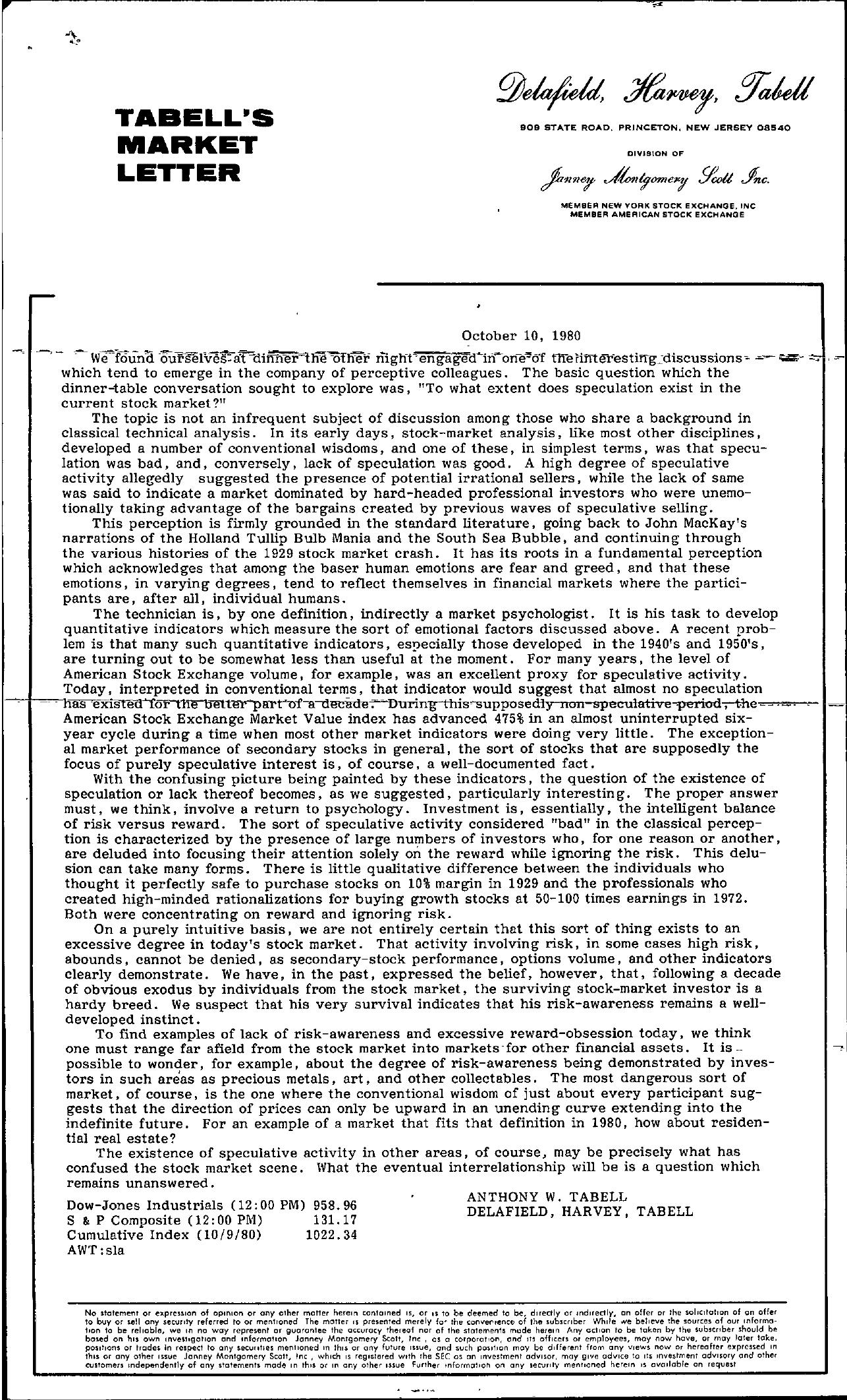 Tabell's Market Letter - October 10, 1980