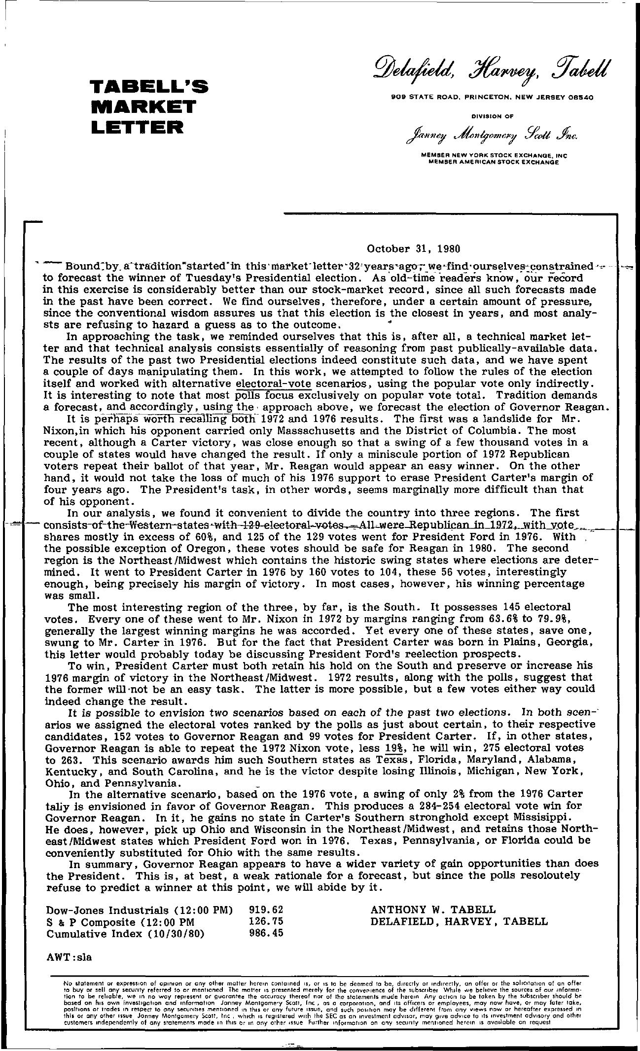 Tabell's Market Letter - October 31, 1980