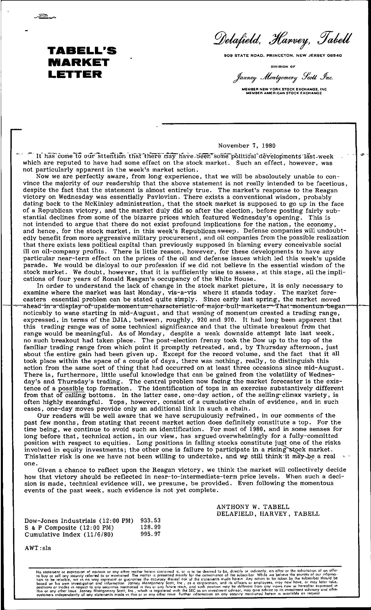 Tabell's Market Letter - November 07, 1980