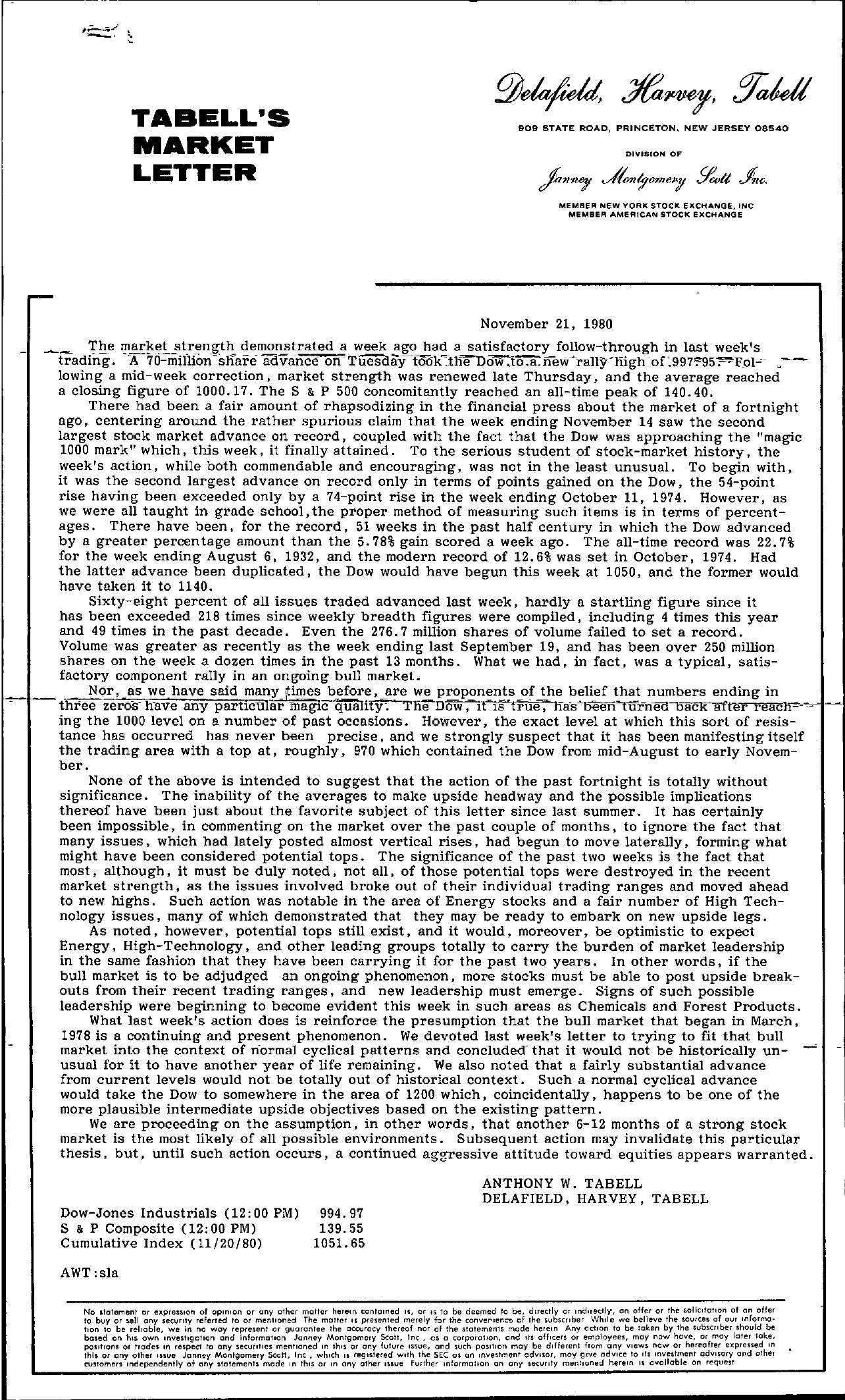 Tabell's Market Letter - November 21, 1980