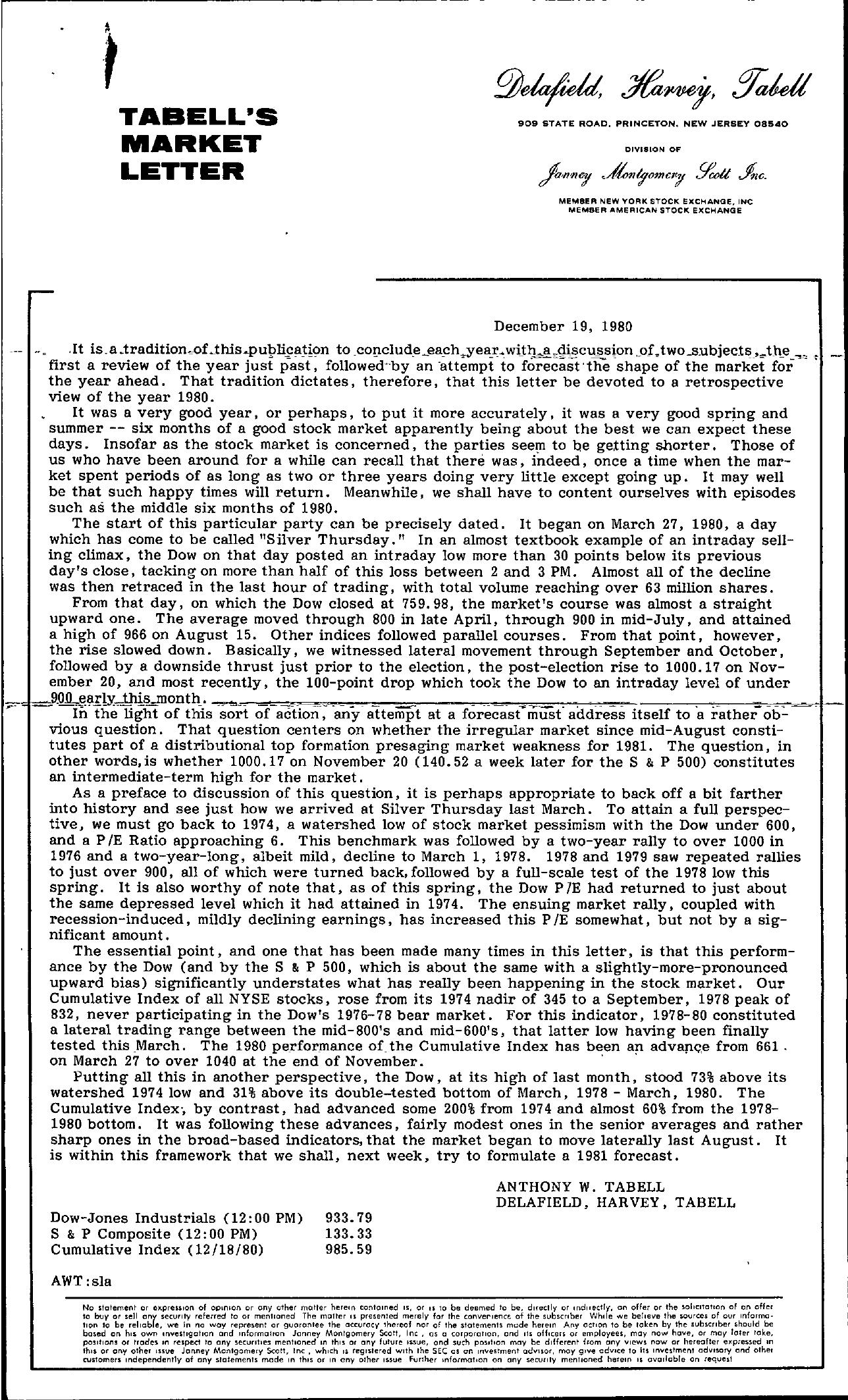 Tabell's Market Letter - December 19, 1980