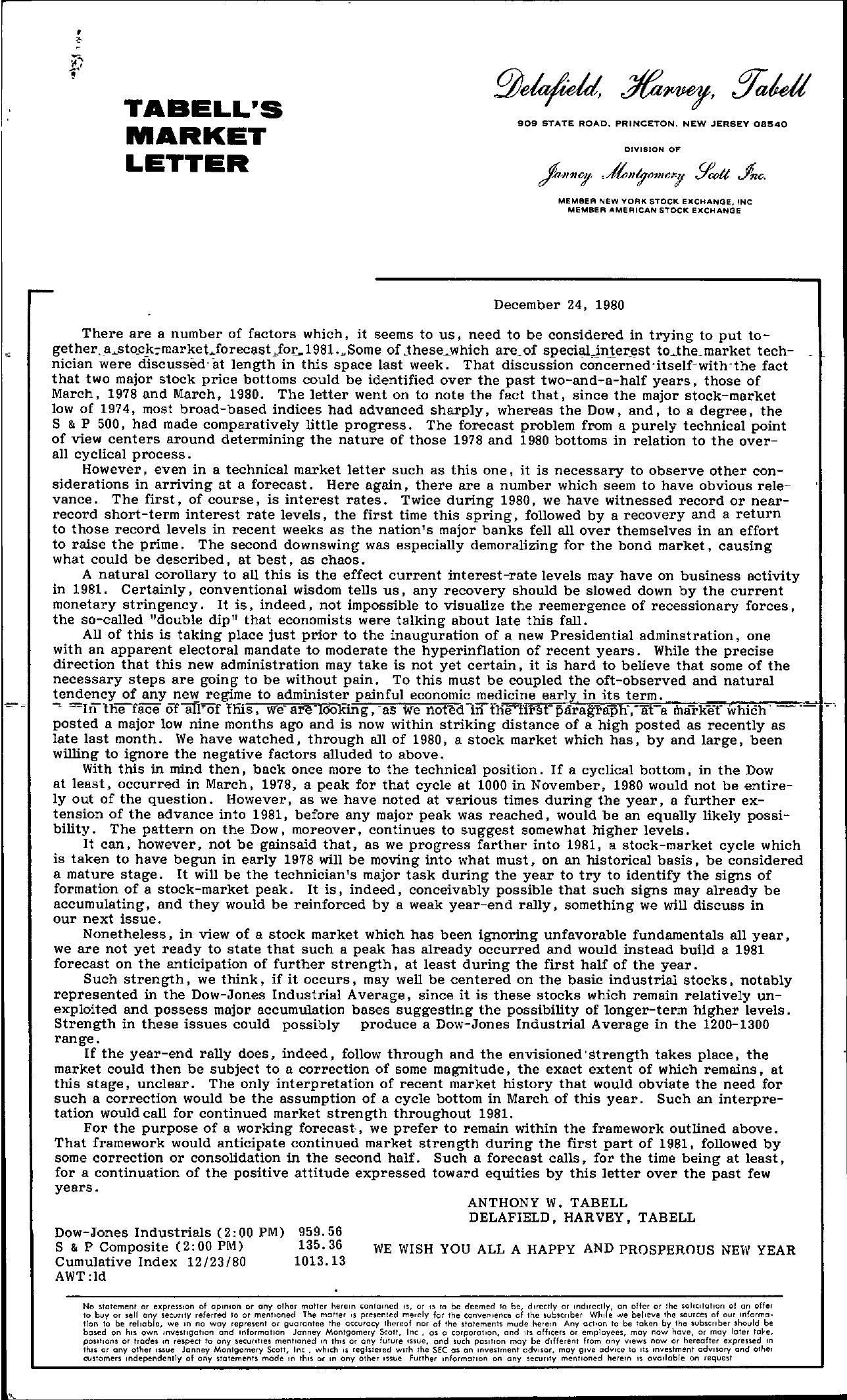 Tabell's Market Letter - December 24, 1980
