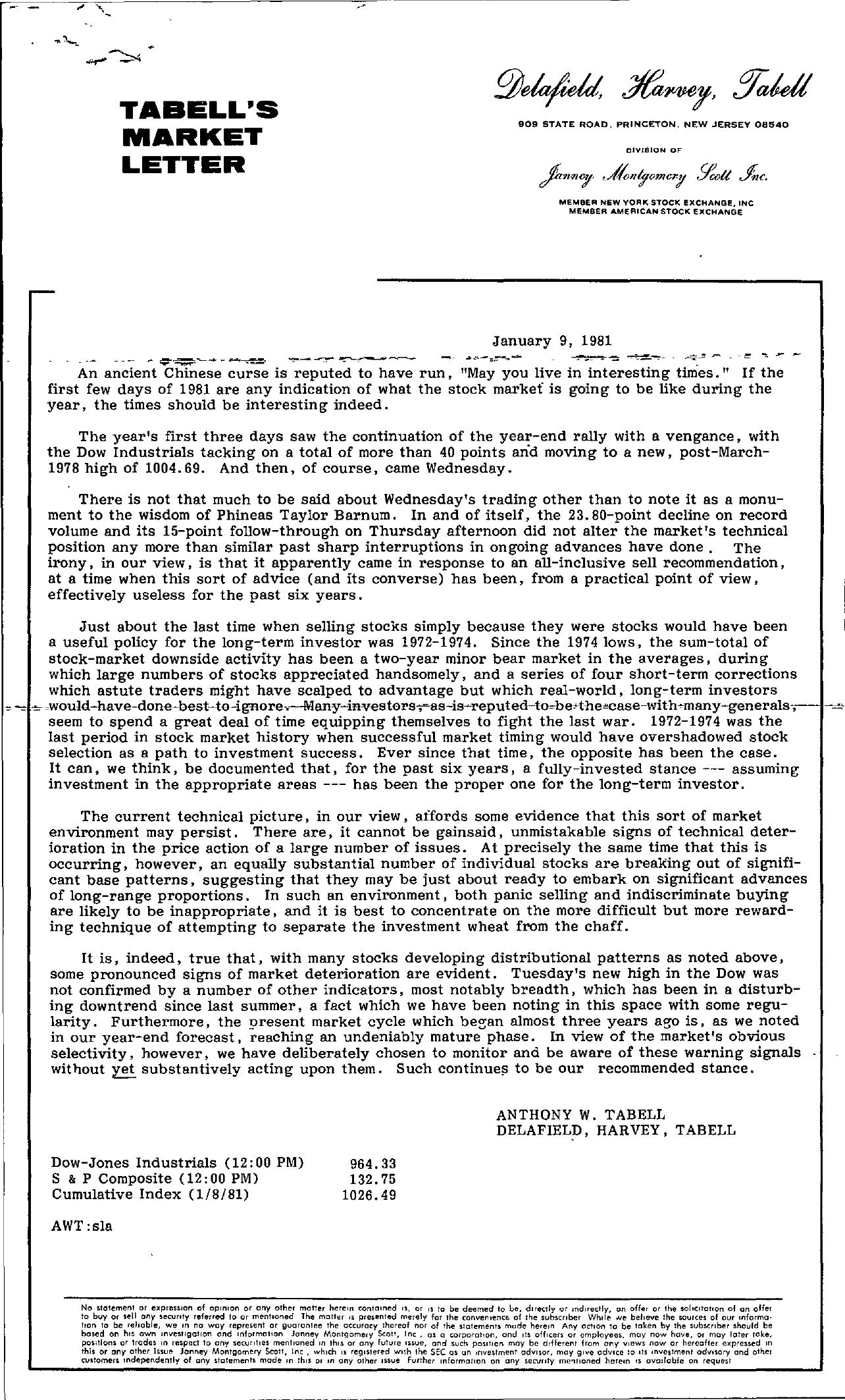 Tabell's Market Letter - January 09, 1981
