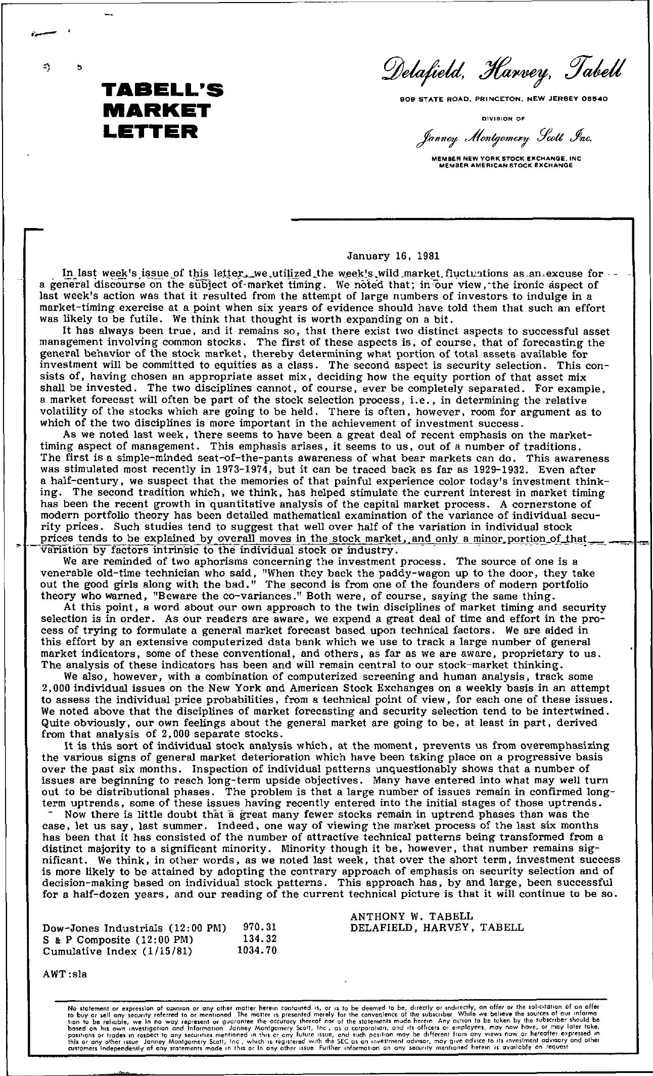 Tabell's Market Letter - January 16, 1981