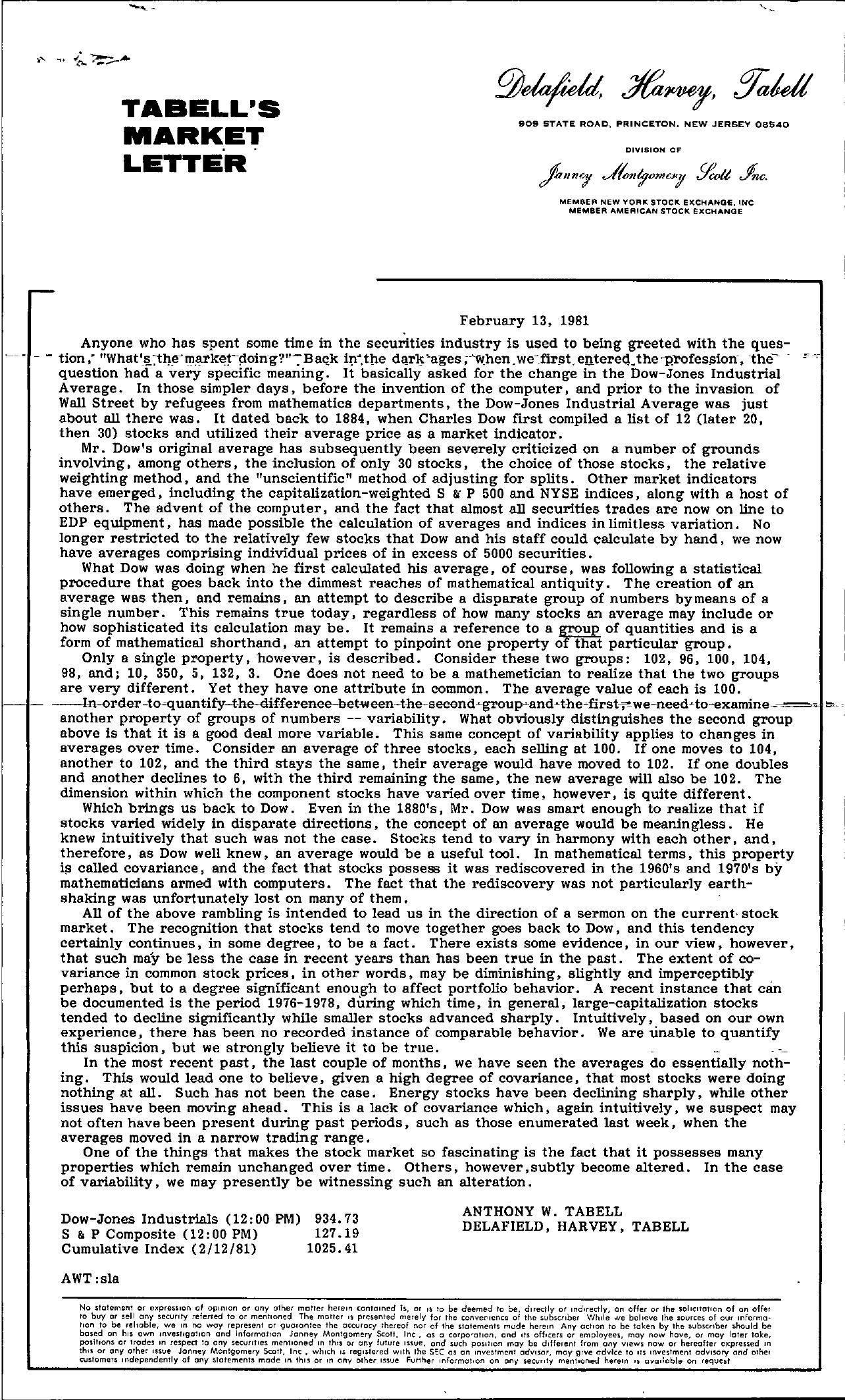 Tabell's Market Letter - February 13, 1981