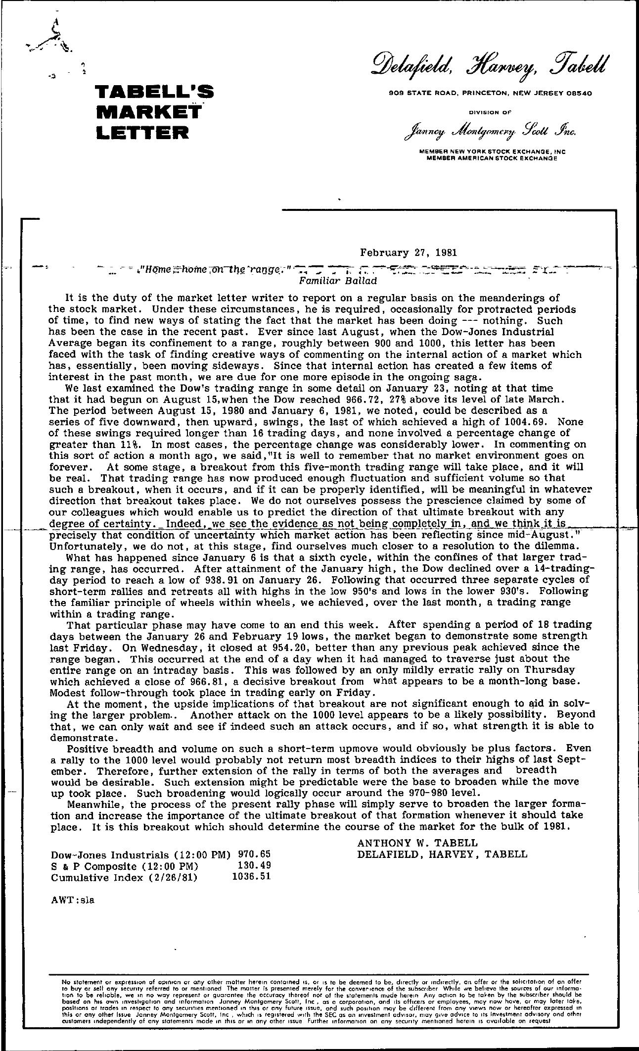 Tabell's Market Letter - February 27, 1981
