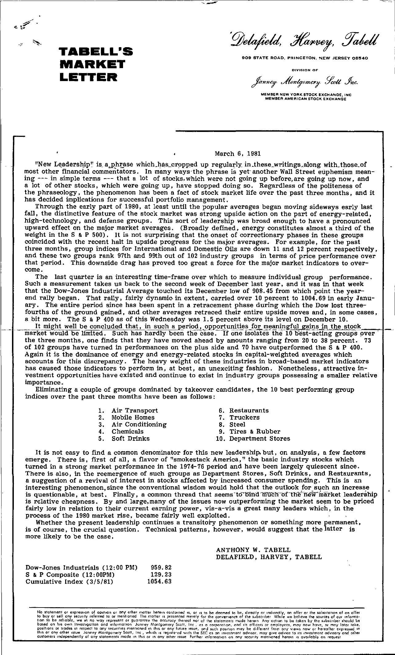 Tabell's Market Letter - March 06, 1981
