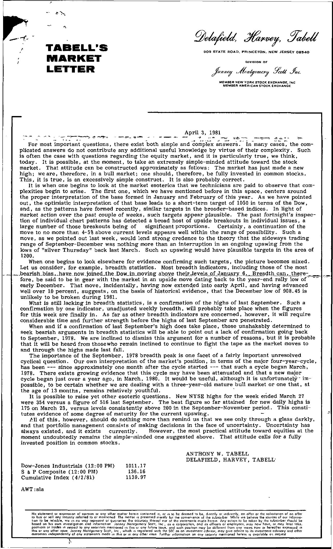 Tabell's Market Letter - April 03, 1981