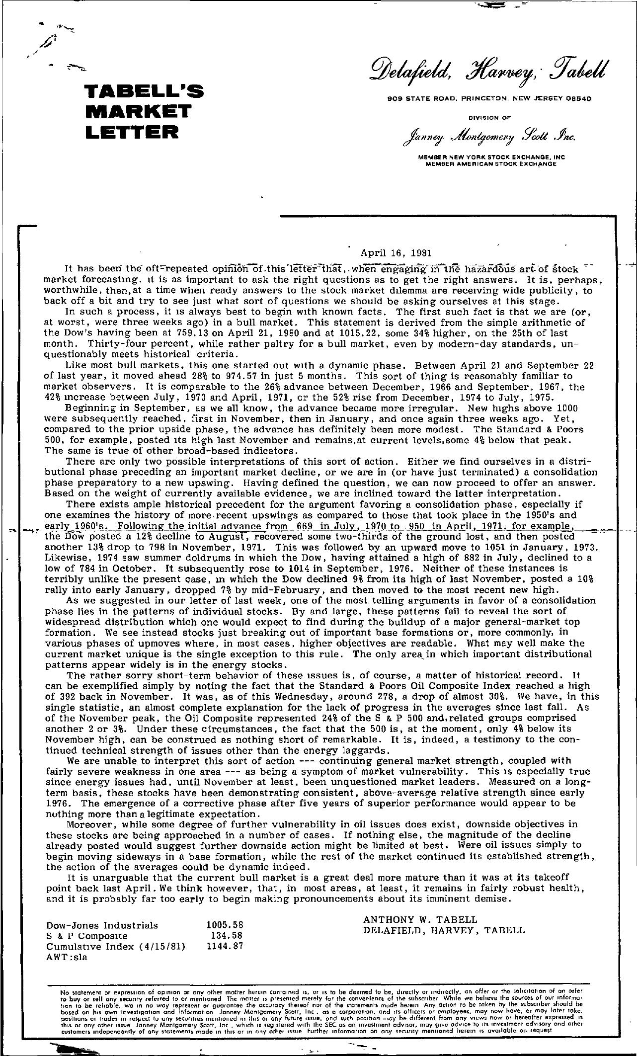 Tabell's Market Letter - April 16, 1981