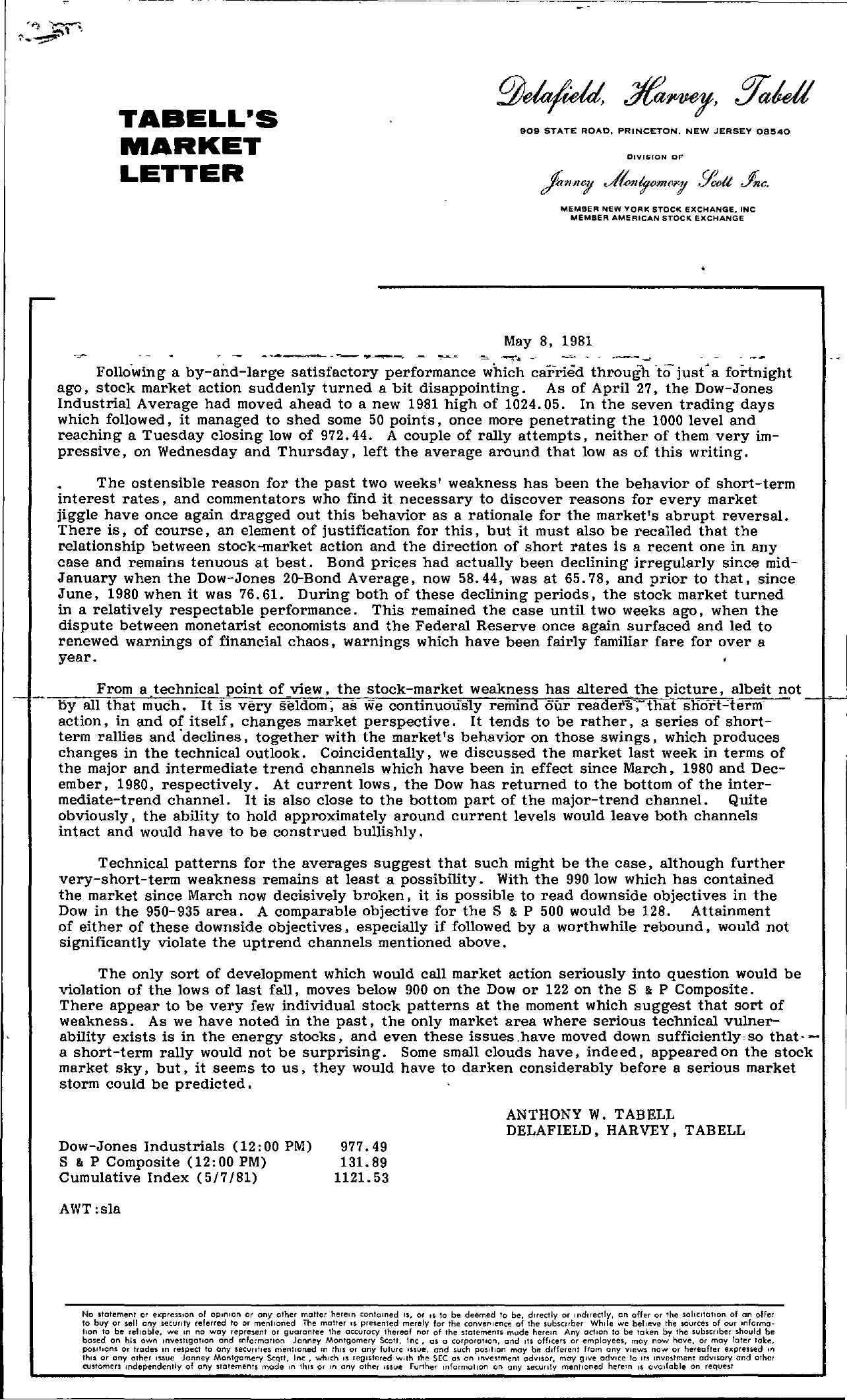 Tabell's Market Letter - May 08, 1981