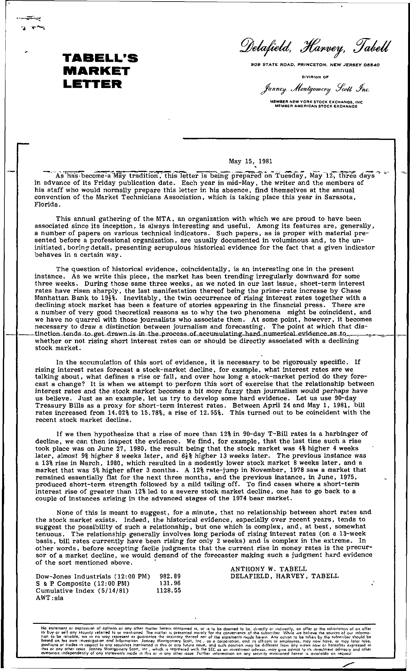 Tabell's Market Letter - May 15, 1981