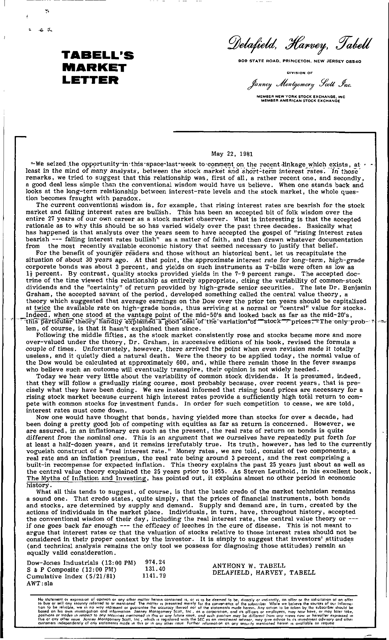 Tabell's Market Letter - May 22, 1981