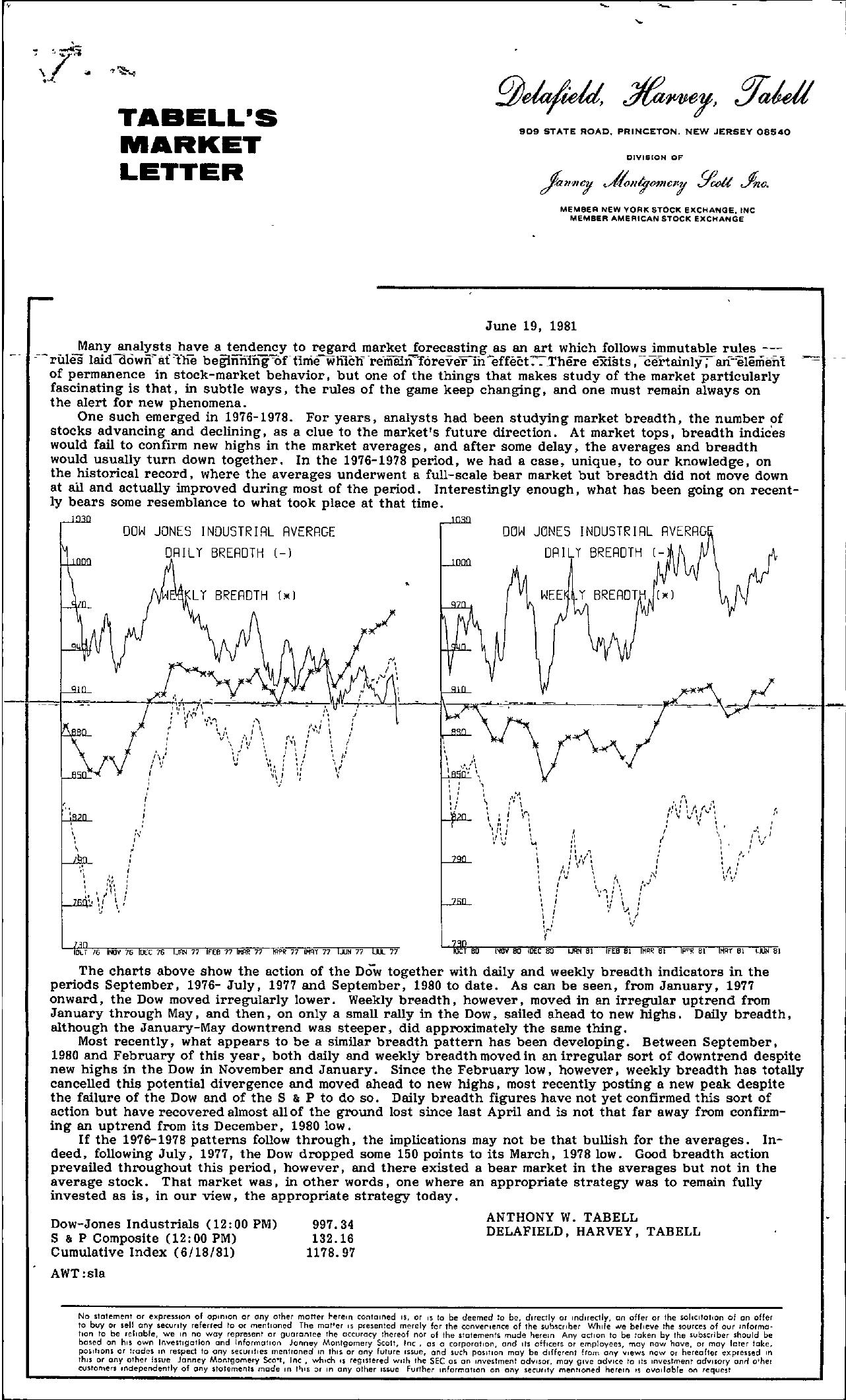 Tabell's Market Letter - June 19, 1981