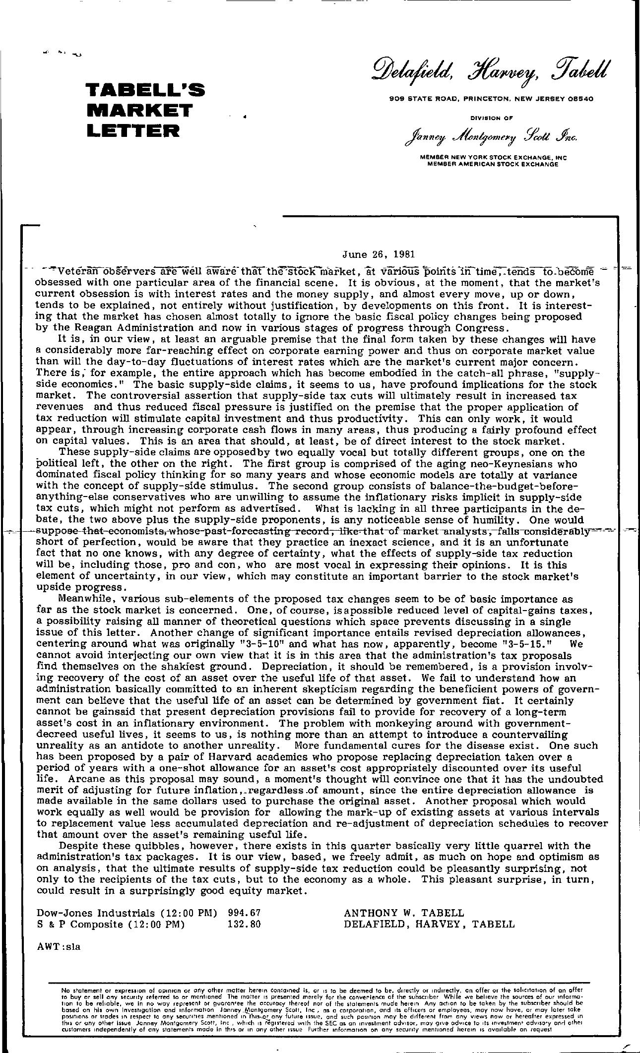 Tabell's Market Letter - June 26, 1981