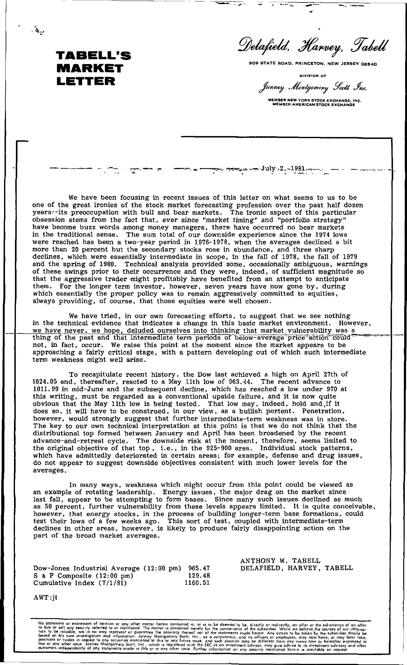 Tabell's Market Letter - July 02, 1981