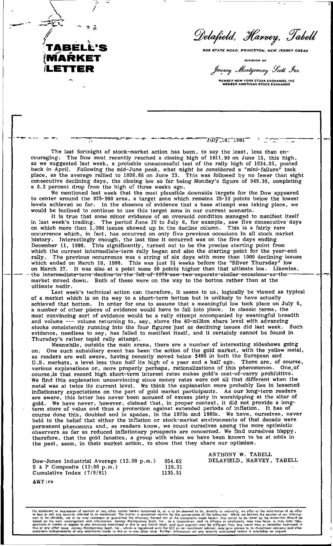 Tabell's Market Letter - July 10, 1981
