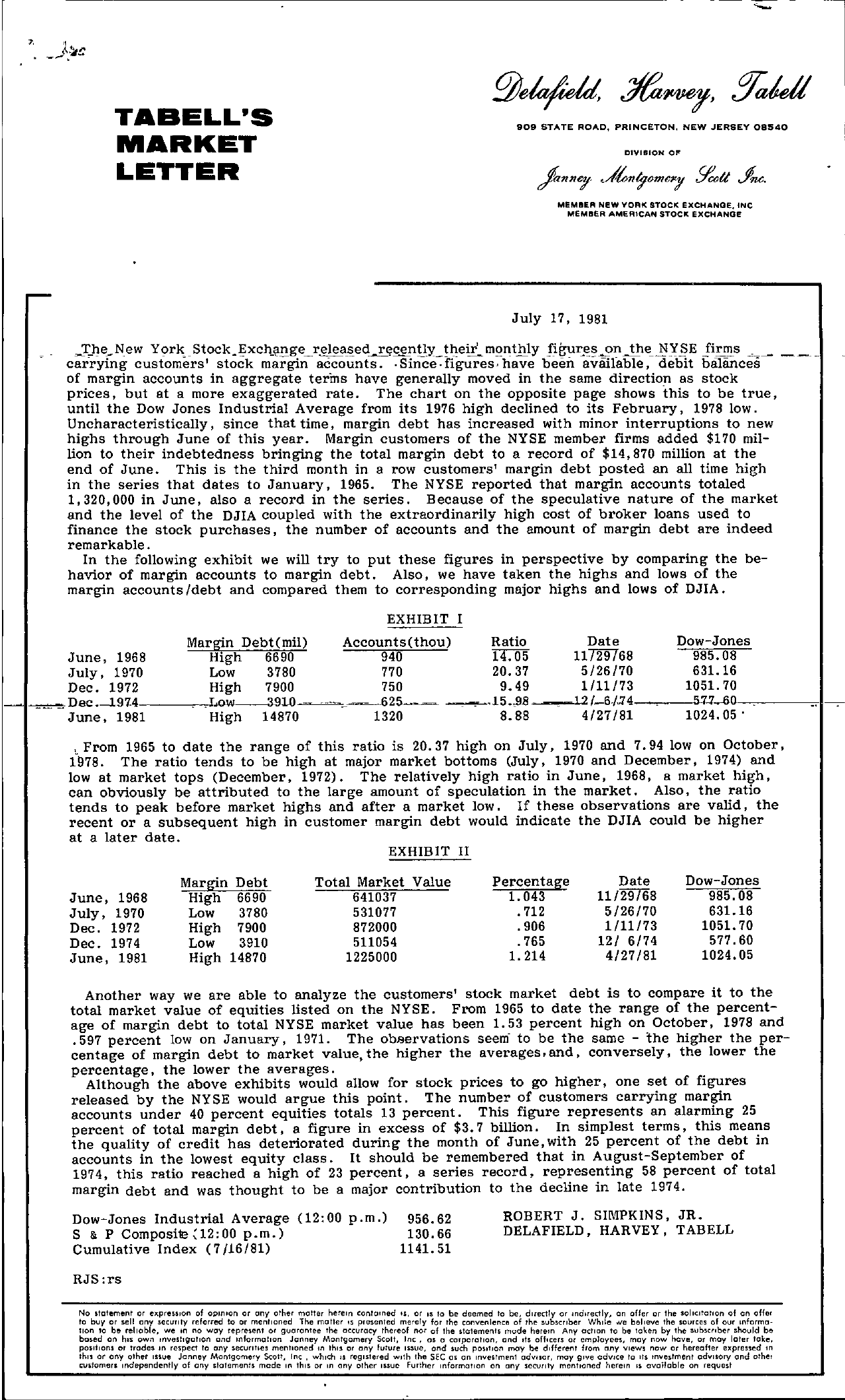 Tabell's Market Letter - July 17, 1981 page 1