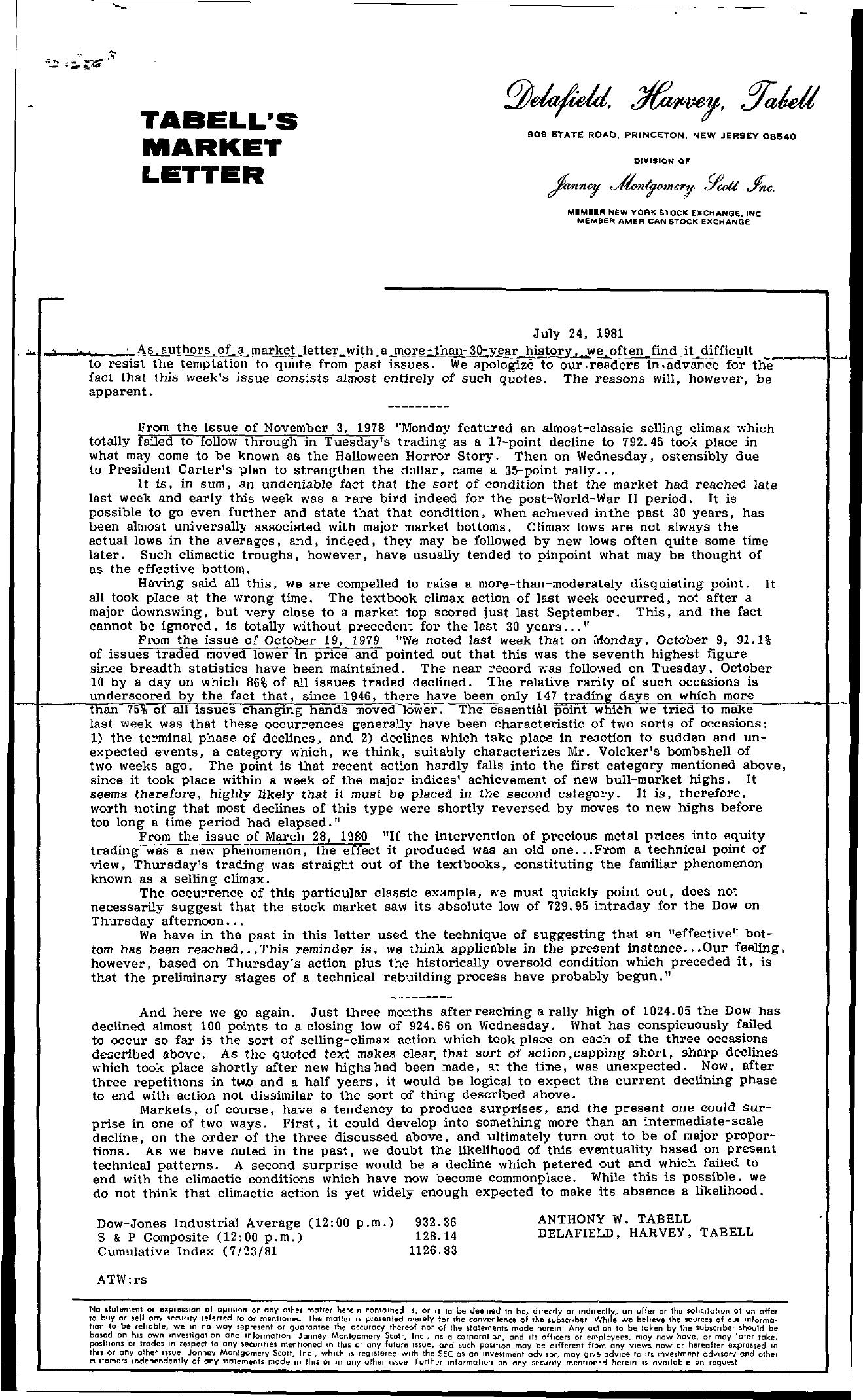 Tabell's Market Letter - July 24, 1981