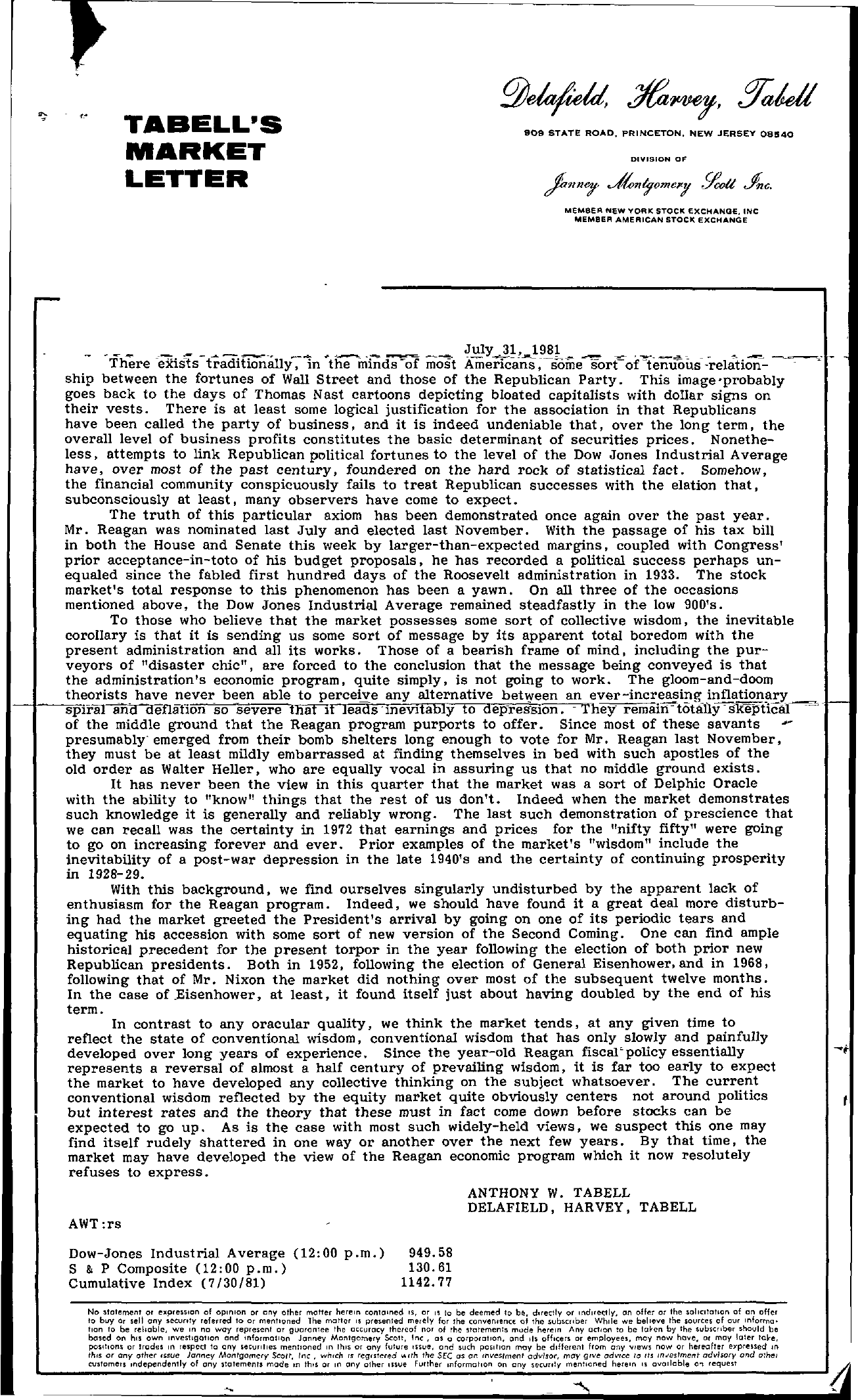 Tabell's Market Letter - July 31, 1981