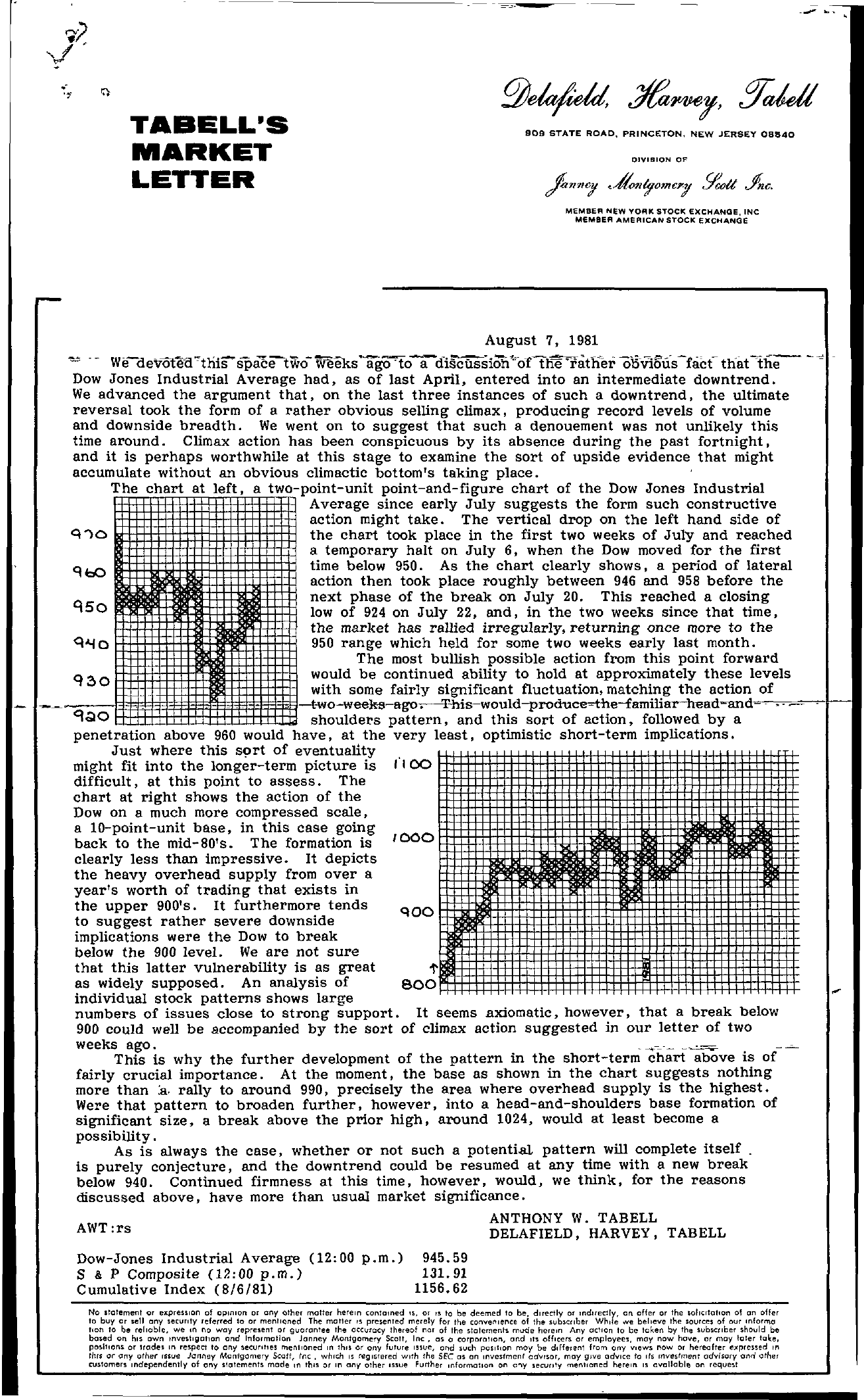Tabell's Market Letter - August 07, 1981