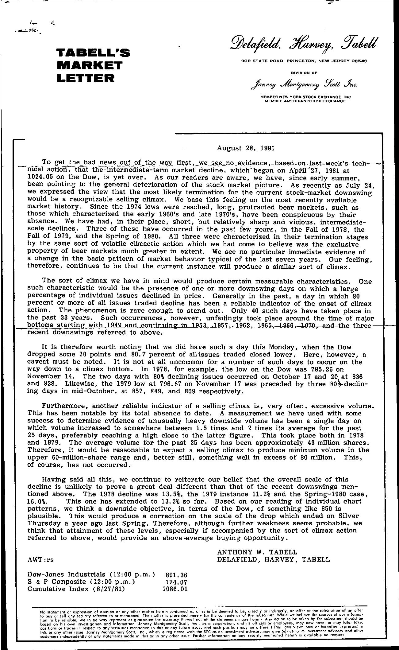 Tabell's Market Letter - August 28, 1981