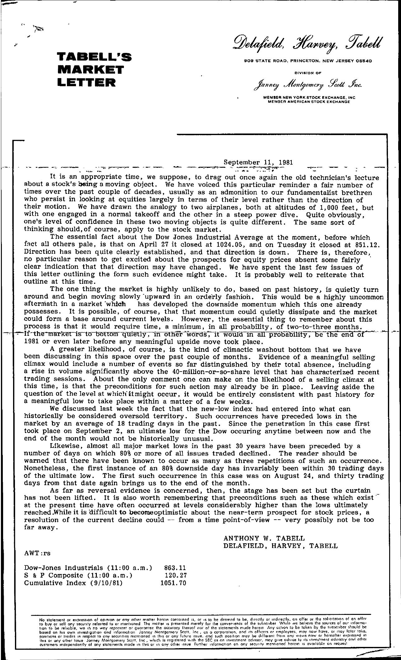 Tabell's Market Letter - September 11, 1981