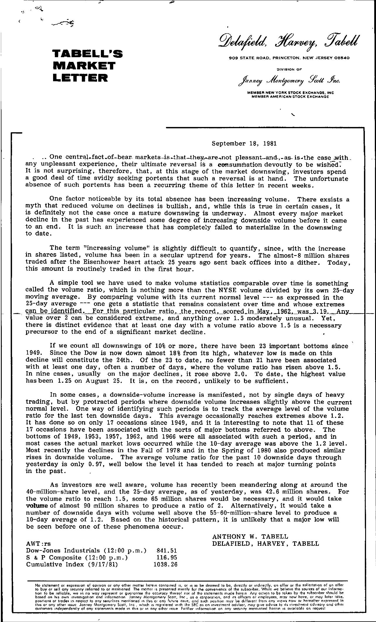 Tabell's Market Letter - September 18, 1981