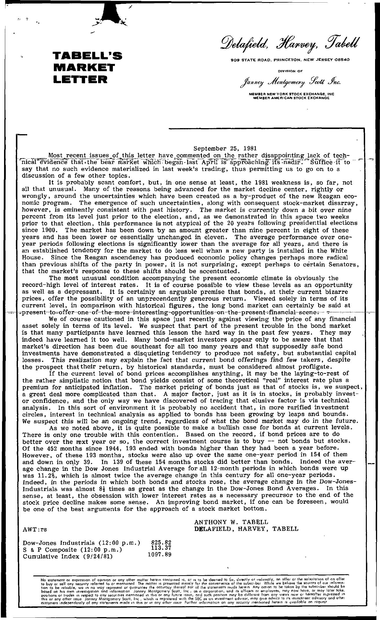 Tabell's Market Letter - September 25, 1981