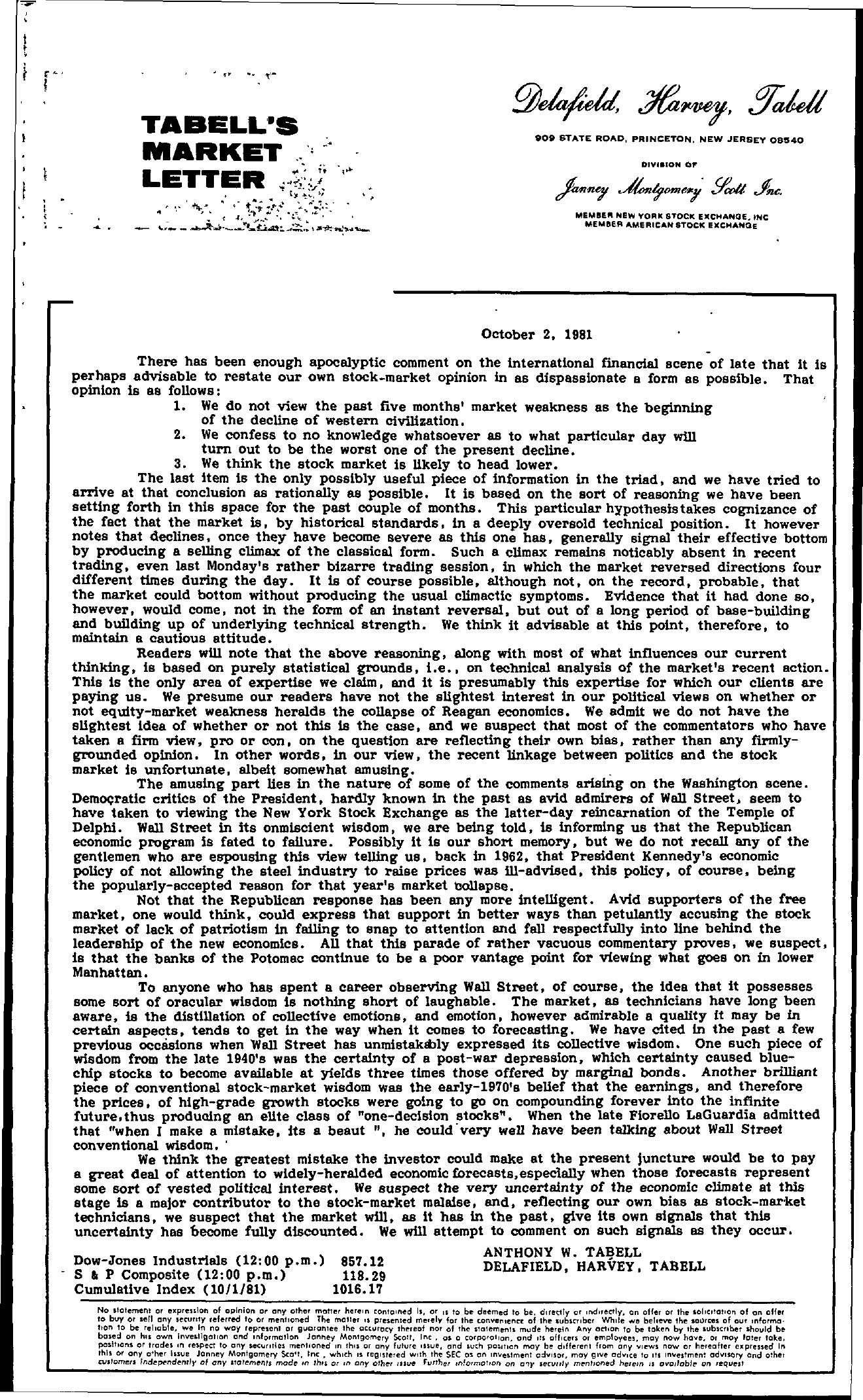 Tabell's Market Letter - October 02, 1981