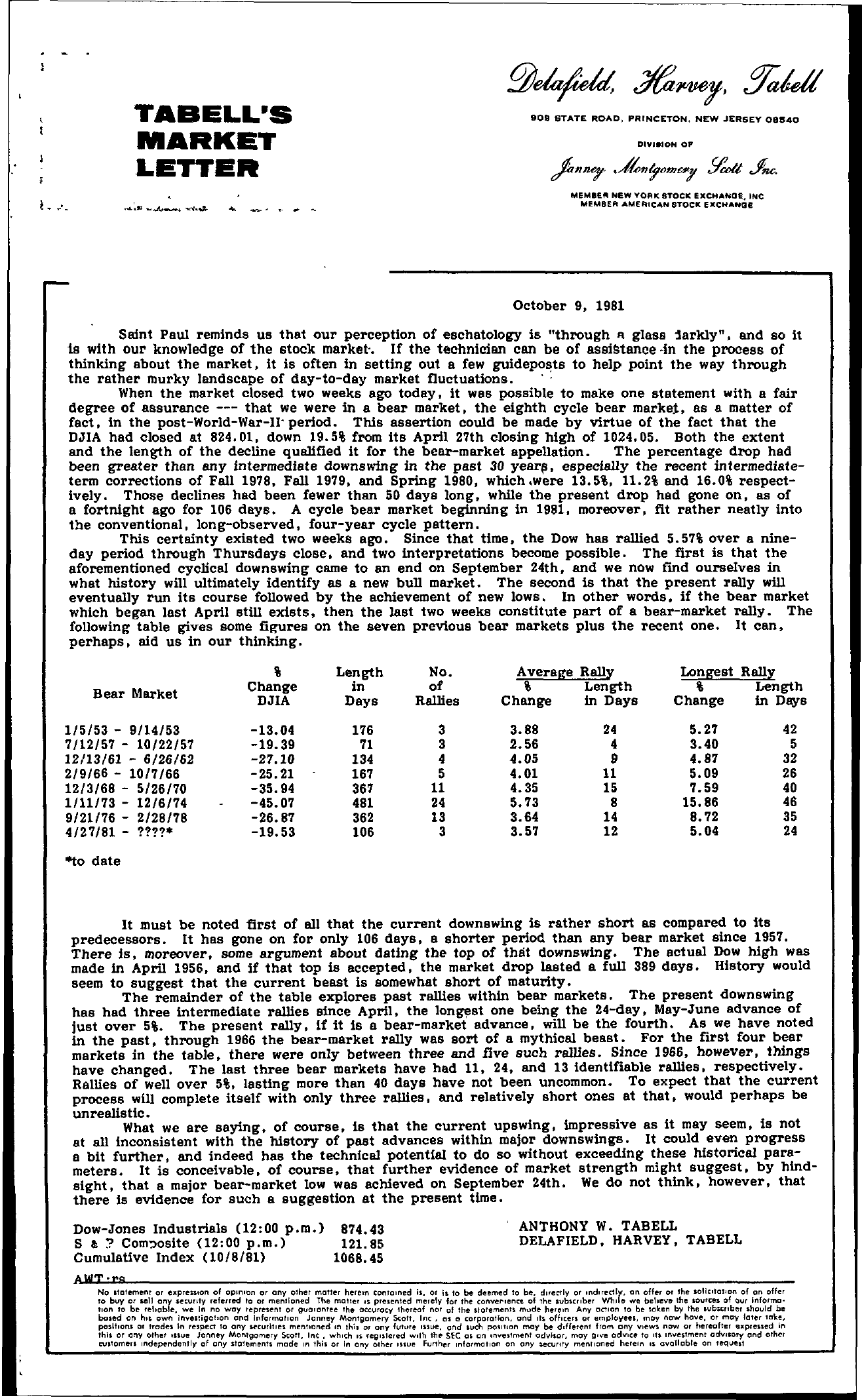 Tabell's Market Letter - October 09, 1981