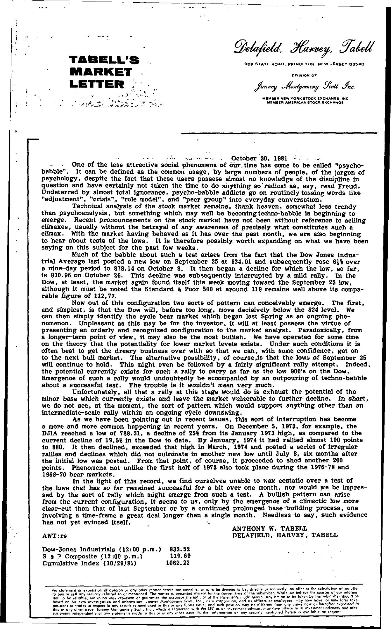 Tabell's Market Letter - October 30, 1981