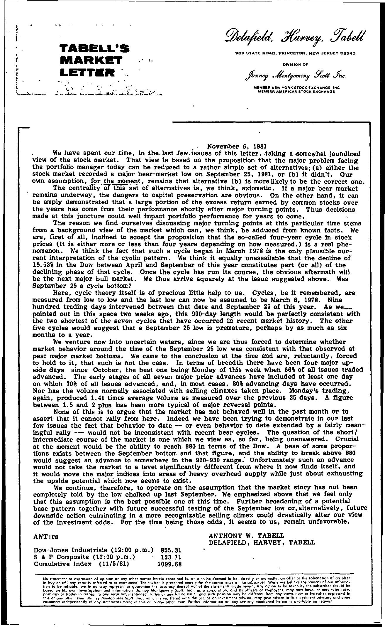 Tabell's Market Letter - November 06, 1981