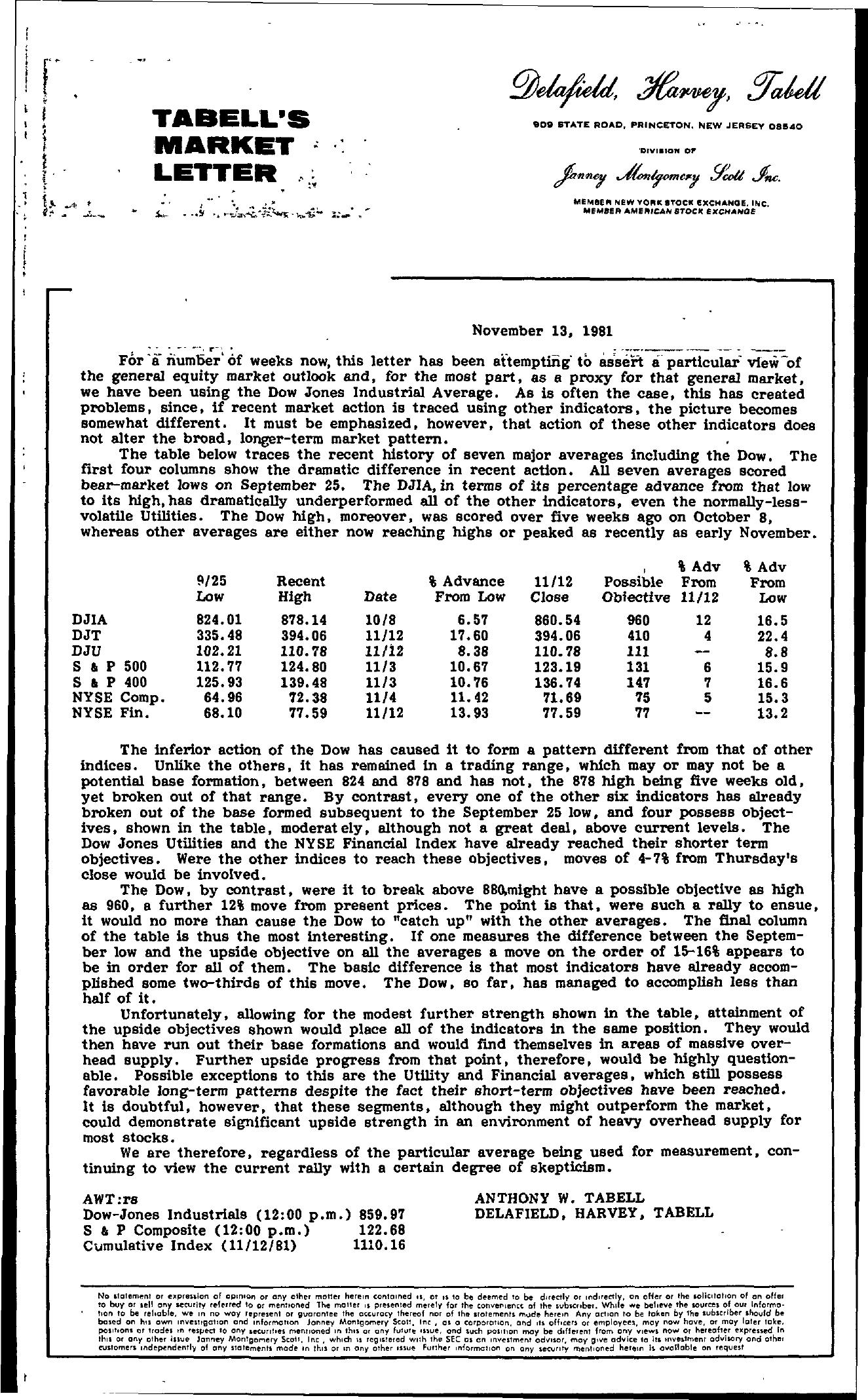 Tabell's Market Letter - November 13, 1981