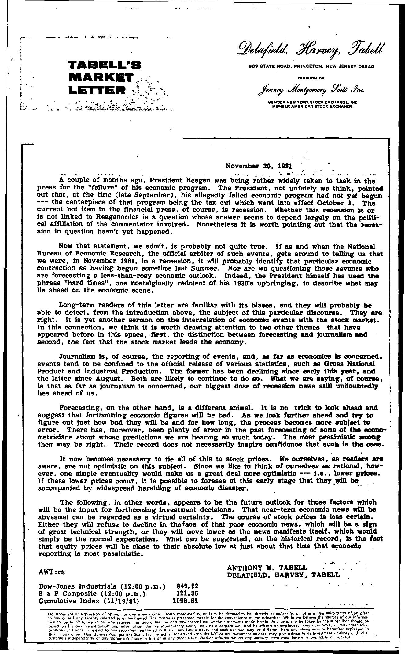 Tabell's Market Letter - November 20, 1981