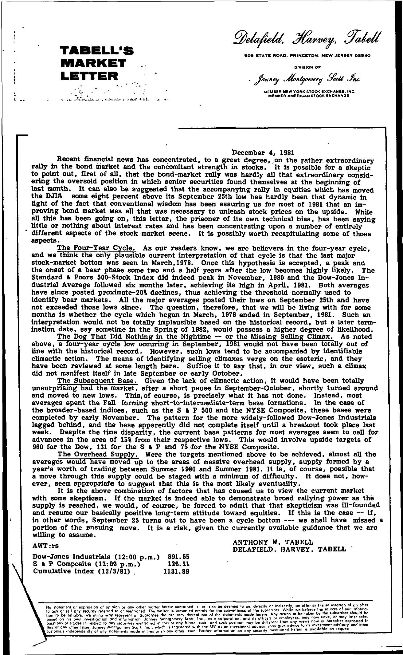 Tabell's Market Letter - December 04, 1981