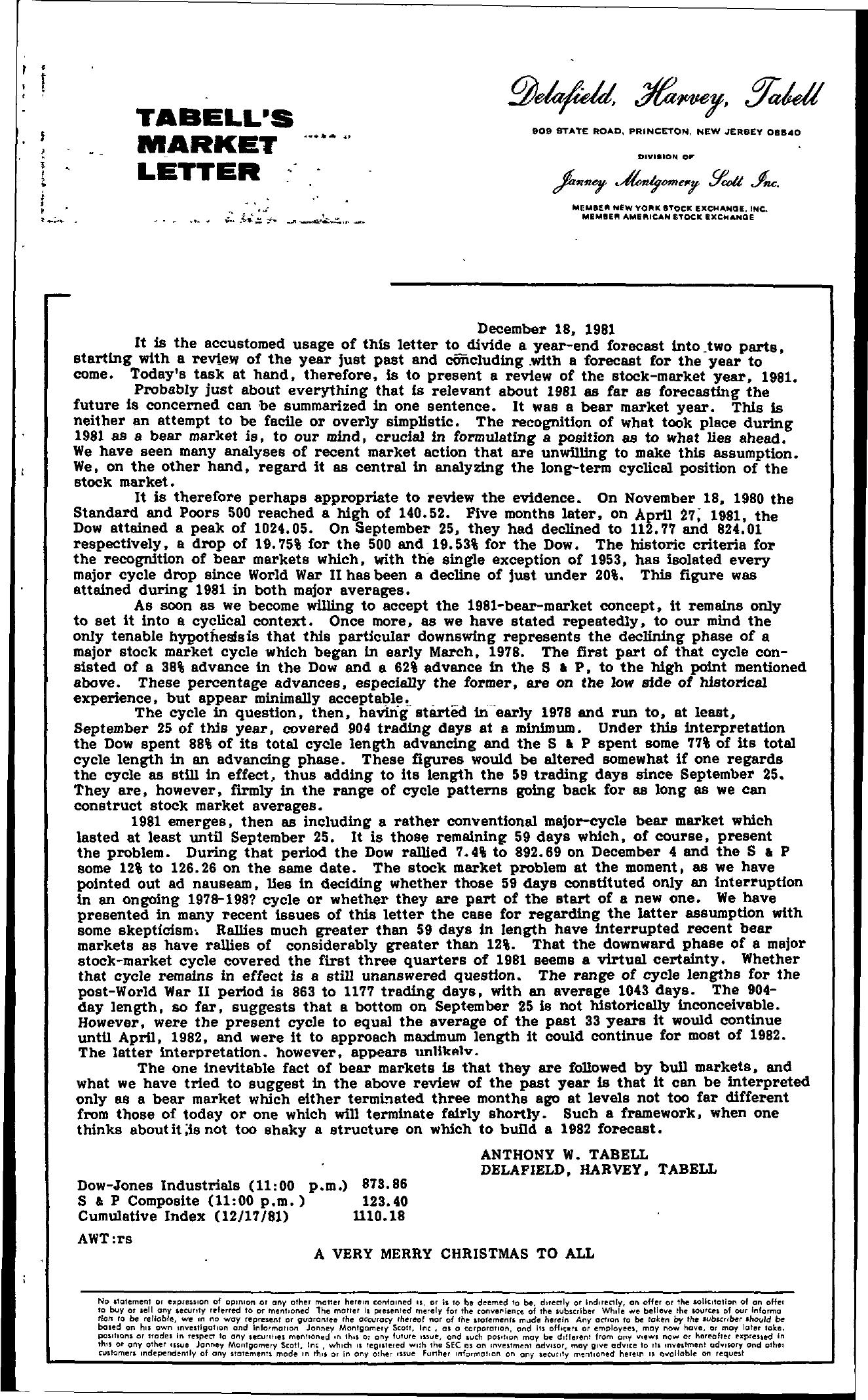 Tabell's Market Letter - December 18, 1981